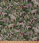 Cotton Gray Wolves American Wildlife Grey Wolf Pups Pack Animals Scenic Pasture Green Grass Cotton Fabric Print by the Yard (112-29481)