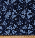 Cotton Christmas Trees Pine Trees Snowmen Snowman Dark Blue Batik Festive Holiday Balinese Writer Wishes Cotton Fabric by the Yard (4219-317)