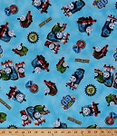 Cotton Thomas and Friends Race Racing Train Trains Percy James Thomas the Tank Engine Kids Children's Blue The Steam Team Cotton Fabric Print by the Yard (1649-24355-b)