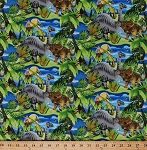 Cotton Dinosaurs Dino T-Rex Stegosaurus Triceratops Pterodactyls Ferns Cycads Jurassic Animals Dino-Might Kids Children's Boys Cotton Fabric Print by the Yard (4674-26426)