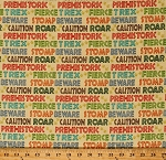 Cotton Dinosaurs Words T-Rex Roar Beware Jurassic Footprints Dino-Might Kids Children's Yellow Cotton Fabric Print by the Yard (4674-26428)