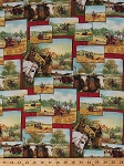 Cotton McCormick Milwaukee Tractor Combine Vintage Farm Vehicles Equipment Farming Farmer Fields Horses Oxen Cows Animals Wheat Harvest Fall Autumn Days Gone By Cotton Fabric Print by Yard (2005-62164-R)
