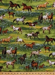 Cotton Horses Mare Stallion Foal Colt Filly Appaloosa Paint Equestrian Herd Pasture Meadow Landscape Scenic Flowers Band of Horses Animals Cotton Fabric Print by the Yard (AOB-14757-4BLUE)