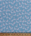 Cotton Llamas Herd Animals Alpacas with Hats Pom Poms No Drama Llama Topaz Blue Cotton Fabric Print by the Yard (stella-762-topaz)