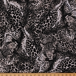 Cotton Jaguars Jaguar Animal Print Wildcats Wildcat Jungle Animals Safari Wildlife The Wild Side Feline Black White Cotton Fabric Print by the Yard (SRK-14220-87)