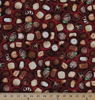 Cotton The Sweet Shop Assorted Box of Chocolates Sweets Candy Candies Bonbons Food Cotton Fabric Print by the Yard (AXL-15584-3-red)