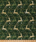 Cotton Reindeer Snowflakes Holiday Christmas Festive Green Metallic Shimmer Gold Winter Reindeer Prance Cotton Fabric Print by Yard (20566M-79)