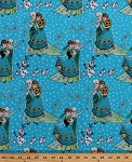Cotton Frozen Fever Anna Elsa Olaf Sisters and Olaf Snowgies Snowmen Snowman Princess Queen Stars Sunflowers Flowers Magic Disney Blue Green Kids Cotton Fabric Print by the Yard (PO327780)
