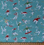 Cotton Olympics Sports Skiers Skiing Ice Dancers Figure Skating Snowboarding Snowboarders Mountains Winter Games Cotton Fabric Print by the Yard (3533M-24)
