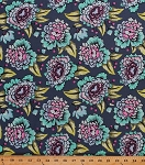 Cotton Flowers Floral Blue Botanical Leaves Tula Pink