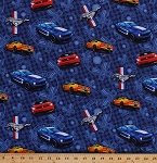 Cotton Ford Mustang Cars Vehicles Blue Cotton Fabric Print by the Yard (1100-2)