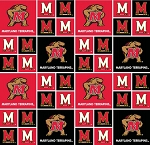 Cotton University of Maryland Terrapins Terps College Team Cotton Fabric Print (md-020)