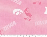Cotton Pink University of Iowa Hawkeyes College Team Sports Cotton Fabric Print by the Yard (ia128)