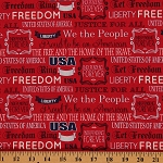Cotton Americana We The People Red Patriotic USA Freedom Cotton Fabric Print by Yard (56999-D650715)