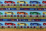Cotton Race Cars Racing Terms Phrases Words Motor Oil Pit Stop 1st Place Race Checkers Sports Speedway (6 Parallel Stripes) Kids Cotton Fabric Print by the Yard (20407-45)