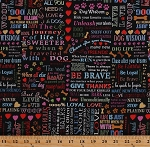 Cotton Dogs Dog Pets Words Phrases Sayings Bones Paw Prints Hearts on Black Cotton Fabric Print by the Yard (8934-099black)