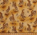 Cotton Cowboys Horses Lassos Old West Wild Southwest Southwestern Bucking Bronco Rancher Ranch Farm Horseshoes New Frontier Cotton Fabric Print by the Yard (etj-6626-158)