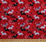 Cotton Scottie Dogs Scotty Scottish Terrier Aberdeen Terrier Doggies Puppies Animals Hearts Polka Dots Scottie Love Canine Red Cotton Fabric Print by the Yard (08509-10)