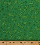 Cotton Busytown Characters People Mice Pigs Firefighters Vehicles Children's Kids Books On the Move Green Cotton Fabric Print By the Yard (1649-45505-G)