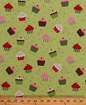 Cotton Christmas Cupcakes Cake Sprinkles Food Kitchen Confections Festive Holiday Green Cotton Fabric Print By the Yard (ACY-9967-223)