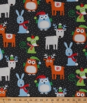 Cotton Christmas Animals Owls Mouse Mice Rabbits Deer Snow Festive Holiday Winter Gray Cotton Fabric Print (FUN-c9484)
