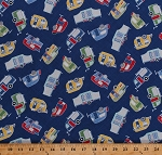 Cotton Campers Camping Trailers Road Trip Vacation Transportation Retro Blue Cotton Fabric Print by the Yard (FUN-C5575-BLUE)