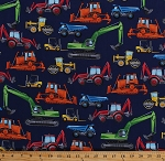Cotton Construction Vehicles Bulldozers Forklifts Excavators Dump Trucks Blue Kids Cotton Fabric Print by the Yard (GM-C5129-NAVY)