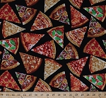 Cotton Pizza Slices Pepperoni Cheese Sausage Mushroom Tomato Supreme Pizza Onions Peppers Toppings Food on Black Kitchen Picnic Cotton Fabric Print by the Yard (food-c5640)