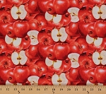 Cotton Red Apples Farmer's Market Fruits Cotton Fabric Print by the Yard (0100-1)