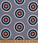 Cotton Targets Archery Target Shooting Bulls Eyes Bulls-eyes Sports Life 3 Gray Cotton Fabric Print by the Yard (srk-15074-12-grey)