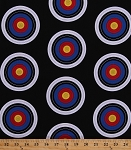 Cotton Targets Archery Target Practice Shooting Bulls Eyes Bulls-eyes Sports Life 3 Black Cotton Fabric Print by the Yard (srk-15074-2-black)