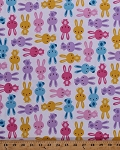 Cotton Rabbits Bunnies Bunny Rabbit Cute Animals Pets Spring Urban Zoologie Kids Cotton Fabric Print by the Yard (AAK-14721-192-SPRING)