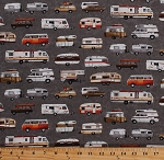 Cotton Campers Trailers RV's Vans Vehicles Camping Travel Road Trip Vacation Parks and Recreation Gray Cotton Fabric Print by the Yard (3922-90)