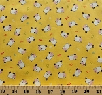 Cotton Farm Corner Sheep Numbers Yellow Cotton Fabric Print by the Yard (425-Y)