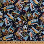 Cotton Hawaiian Print Postcards Hawaii Surfers Scenes Scenic Palm Trees Surfing Ocean Vacation Mail Post Stamp All-over Navy Around The World Cotton Fabric Print by the Yard (BTR3972)