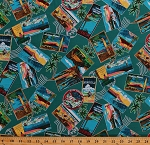 Cotton Hawaiian Print Postcards Hawaii Surfers Scenes Scenic Palm Trees Surfing Ocean Vacation Mail Post Stamp All-over Teal Around The World Cotton Fabric Print by the Yard (BTR3972)