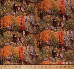Cotton White-Tailed Deer Bucks Does Animals Wildlife Nature Outdoors Birch Trees Leaves Woods Forest Hunting Scenic Landscape Fall Autumn Surprise Cotton Fabric Print by the Yard (9201-multi)