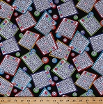 Cotton Bingo Game Cards Balls Numbers Games Black Cotton Fabric Print by the Yard (GAIL-C5200)