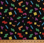 Cotton Tetris Tiles Blocks Game Pieces Tetriminos Video Arcade Games Puzzles Black Cotton Fabric Print by the Yard (C6780-Black)