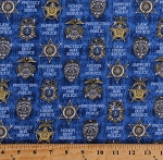 Cotton Police Badges Types Sheriffs State Troopers Captains Sergeants Law Enforcement Officers Policemen Cops Words Sayings Protect & Serve Blue Cotton Fabric Print by the Yard (1649-26130-B)