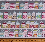 Cotton Candy Jars Candies Sweets Confections Gum Balls Peppermints Bon Bons Jaw Breakers Confectionery Candy Store Shop Shelves Polka Dots Cupcake Cafe Gray Cotton Fabric Print by the Yard (3891-92)