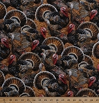 Cotton Turkeys Game Birds Toms Gobblers Hens Thanksgiving Hunting Wildlife Outdoors Nature Cotton Fabric Print by the Yard (Nature-C5258)