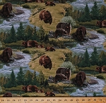 Cotton Brown Bears Grizzly Bears Grizzlies Animals Northwoods Landscape Nature Stream Scenic North American Wildlife Green Cotton Fabric Print by the Yard (5013GREEN)