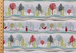 Cotton Christmas Trees Sleigh Ride Sleds Snow Snowing Snowflakes Mushrooms Toadstools Winter Scenery Evergreens Scenic Repeating Stripe (4 Parallel Stripes) Holiday Cheer Christmas Cotton Fabric Print by the Yard (9684-9)