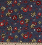 Cotton Lady Bug Blooms Flowers Ladybugs Gray Cotton Fabric Print by the Yard (Y1760-6-gray)