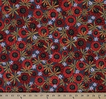 Cotton Lady Bug Blooms Flowers Packed Floral Dark Gray Cotton Fabric Print by the Yard (Y1761-7)