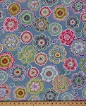 Cotton Colorful Floral Artwork Flowers on Blue Cotton Fabric Print by the Yard (01235-56)