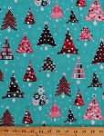 Cotton Retro Pink Christmas Trees Holiday Festive Winter Snowflakes Blue Cotton Fabric Print by the Yard (ack-13578-256)