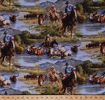 Cotton Cattle Drive Cowboys Horses Cows Cattle Ranch Animals Western Southwest Wild Wings Ranchero Scenic Cotton Fabric Print by the Yard (59993-A620715)