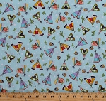 Cotton Southwestern Tepees Tipis Teepees Tents Cactus Cacti Stars Southwest Native American Blue Pow Wow Cotton Fabric Print by the Yard (4120EQ-61455-5)